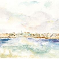 """Acuarela """"A Coruña, mar"""" de Meres Barreira."""
