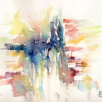 """Acuarela """"El muro de la cascada"""" de Meres Barreira."""
