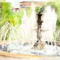 """Acuarela """"Fuente del parque"""" de Meres Barreira."""