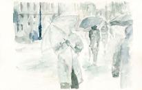 """Acuarela """"Lluvia y viento"""" de Meres Barreira."""