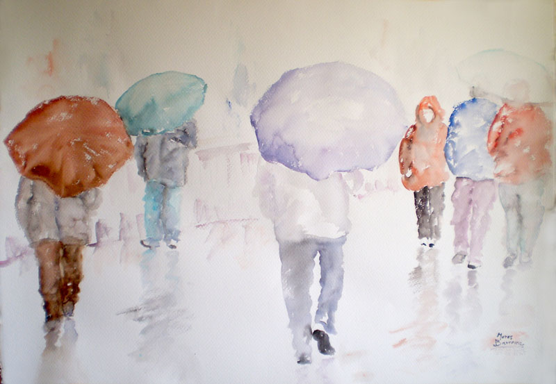 "Acuarela ""Avec la pluie et le vent ll"" de Meres Barreira."