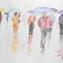 """Acuarela """"Bajo la lluvia. El señor de gafas"""" de Meres Barreira."""