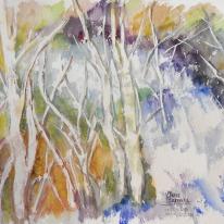 "Acuarela ""Cascada de los árboles"" de Meres Barreira."