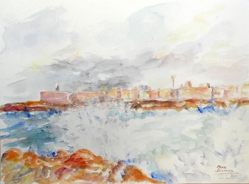 """Acuarela """"Coruña desde las rocas"""" de Meres Barreira."""