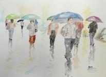 "Acuarela ""El paraguas azul 3"" de Meres Barreira."