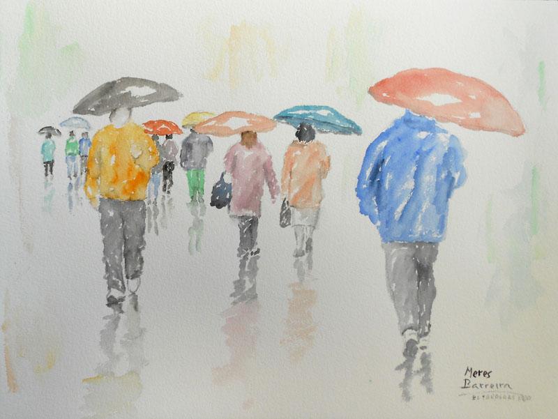 "Acuarela ""El paraguas rojo"" de Meres Barreira."