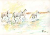 """Acuarela """"El paseo de los caballos"""" de Meres Barreira."""