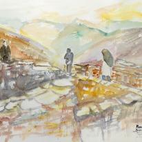 """Acuarela """"En busca del horizonte 1"""" de Meres Barreira."""