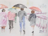 """Acuarela """"Encore la pluie"""" de Meres Barreira."""