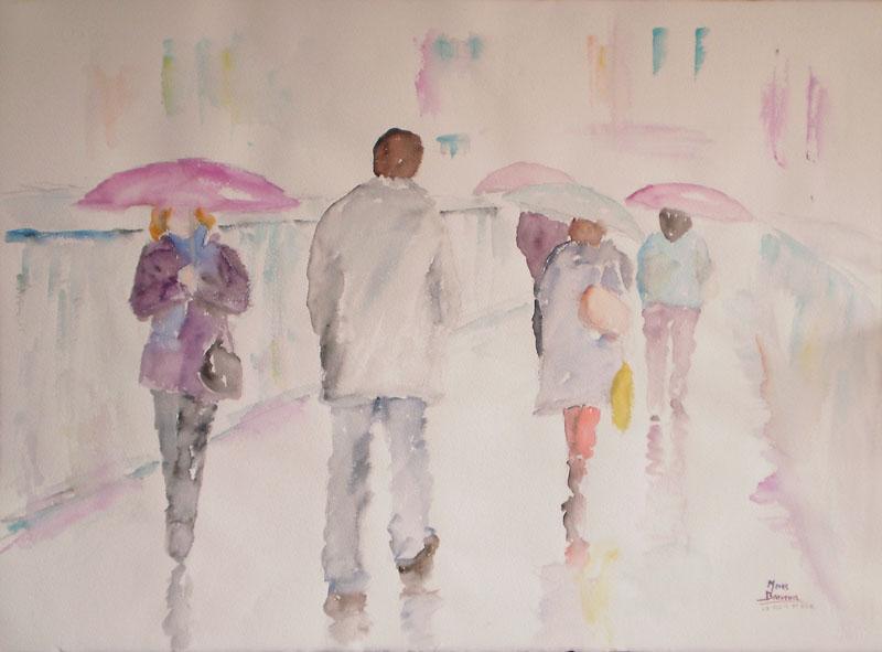 """Acuarela """"La pluie et eux"""" de Meres Barreira."""