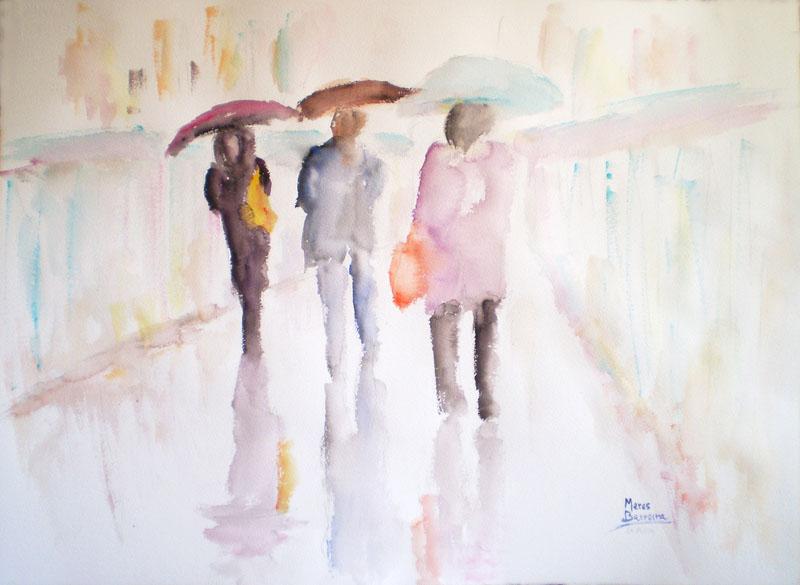 """Acuarela """"La pluie"""" de Meres Barreira."""