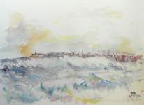 """Acuarela """"Mar de A Coruña"""" de Meres Barreira."""