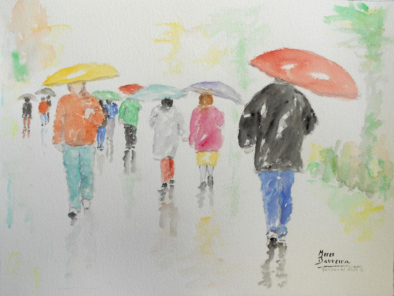 """Acuarela """"Paraguas rojo 2"""" de Meres Barreira."""
