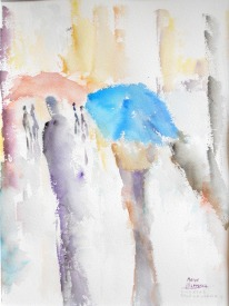 """Acuarela """"Siluetas bajo la lluvia 2"""" de Meres Barreira."""