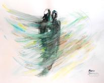 """Acuarela """"Together"""" de Meres Barreira."""